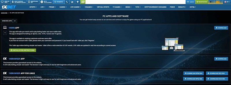 1xBet app for PC